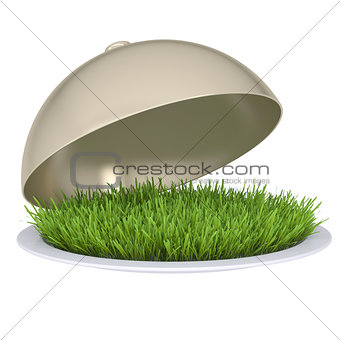 Green grass on a plate with a lid