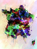 France map watercolor style splash