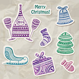 Vector Stickers with Watercolor Holiday drawings