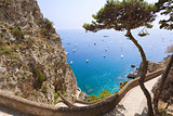 Amazing sea view from Capri mountains, Italy