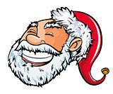Cartoon smiling Santa head.