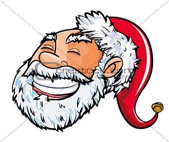 Cartoon smiling Santa head.