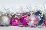 Arrangement of Christmas tree decorations