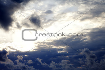 Sky with clouds at summer evening