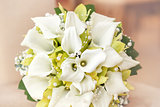 wedding bouquet with pearls, orchid and calla