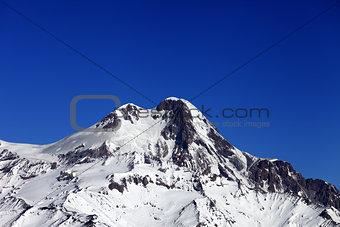Top of Mount Kazbek at nice winter day