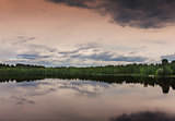Southwest Lapland in Finland: midsummer evening over the lake.