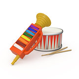 Isolated fife, drum and two drumstick 3D