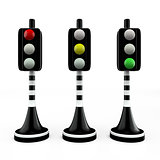 Three trafficlights, red, yellow, green
