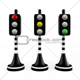 Three trafficlights, red, yellow, green