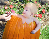 baby girl in autumn pumpkin