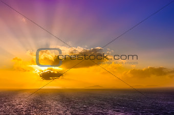 Ocean landscape sunset with clouds and colorful sky