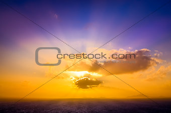 Scenic landscape view of ocean sunset with colorful sky