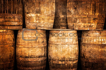 Stacked whisky barrels in vintage style