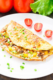 Omelet with diced vegetables