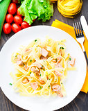 Delicious fettuccini with salmon