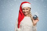 blonde girl with xmas hat and bauble