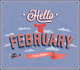 Hello february typographic design.