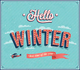 Hello winter typographic design.