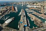 aerial view of Genoa Harbor