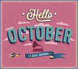 Hello october typographic design.