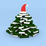 Christmas tree of books with cap