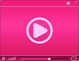 Pink video player. Icon. vector illustration