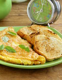 fresh egg omelet with basil