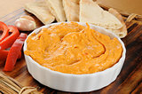 Garlic and pepper hummus with pita bread