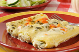 Cannelloni stuffed with spinach and rocitta cheese