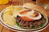 Hamburger with potato chips