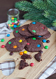Homemade chocolate cookies decorated with colorful drops