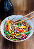 Buckwheat noodles with chicken and vegetables