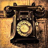 Detail monochrome view of old vintage dial telephone