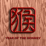 Chinese Monkey Symbol Wood Background Illustration
