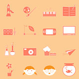 Kid activities orange icons set
