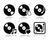 Vinyl record, dj vector icons set