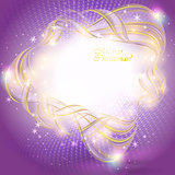 Golden transparent ribbon on purple Christmas background