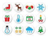 Christmas winter colorful icons set as round labels