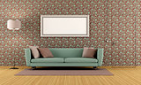 living room with vintage wallpape