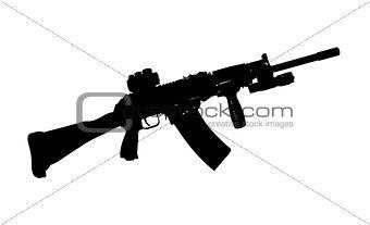 Black silhouette of a kalashnikov AK-47