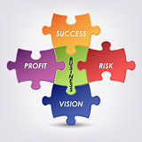 Abstract colored group puzzle business background