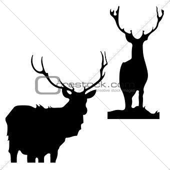 Black silhouettes of deer on a white background