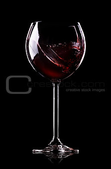 Wave of wine in wineglass