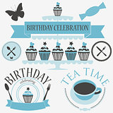 Vector set of birthday party elements