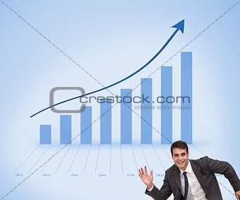 Cheerful waving businessman smiling at camera