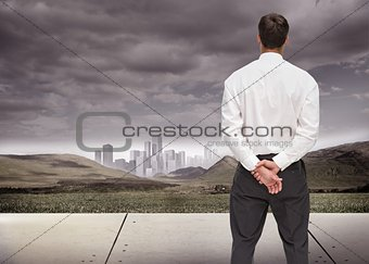 Businessman turning his back to camera