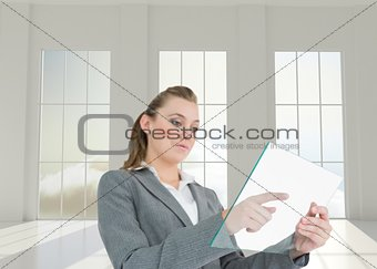 Woman pressing something on the pane
