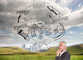 Mature thoughtful businessman looking away