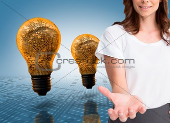 Attractive businesswoman showing her empty hand